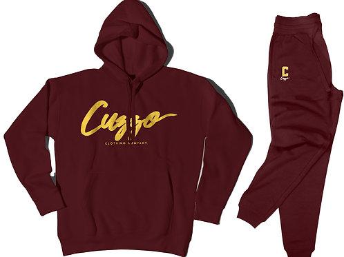 Cuzzo® Gold Signature Jogger Set (Burgundy-Gold)
