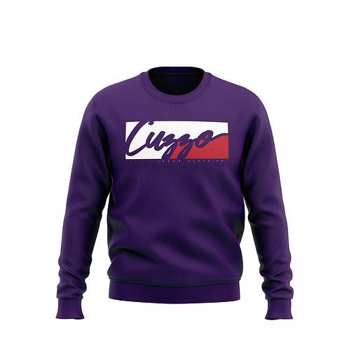 Cuzzo® Signature Block Sweatshirt  (Purple/Red-White)**