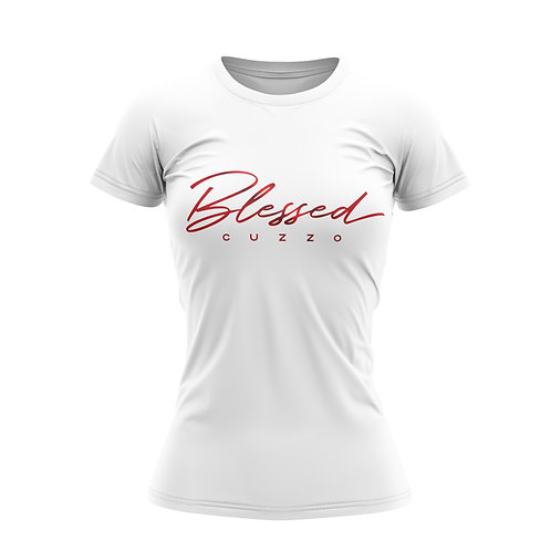 Cuzzo® Unisex Women's Blessed Script Tee (Red-Foil)