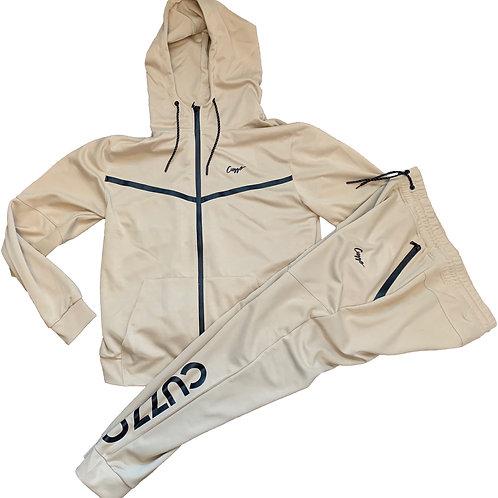 Cuzzo® Tech Fleece Jogger Set (Tan-Blk) **Exclusive**