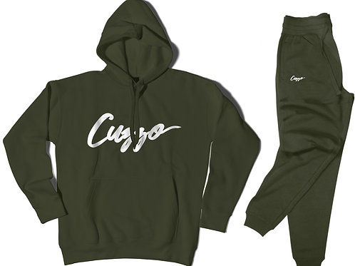 Cuzzo® Signature Jogger Set (Military Green-White)