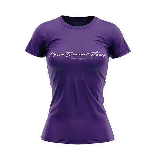 Cuzzo® Unisex Women Scripted Tee  (Team Purple-White)