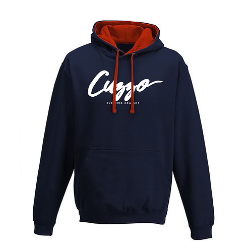Cuzzo® French Navy-Red-White Signature hoodie (Navy-Red)