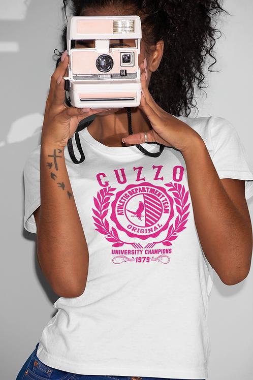 Cuzzo® Unisex Women's Champion Tee (White-Hot Pink)