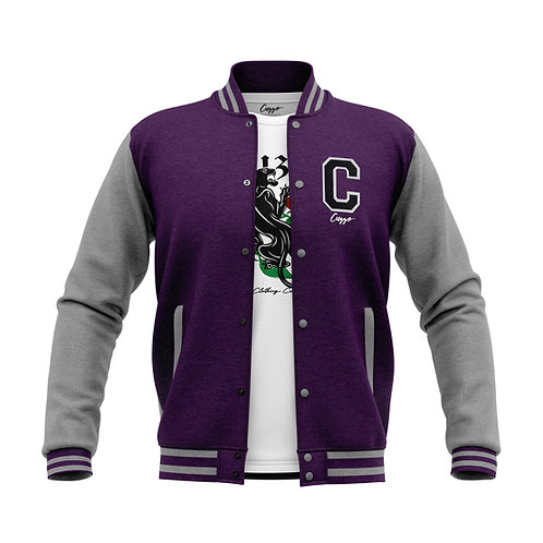 Cuzzo® Letterman Jacket (Purple-Heather Grey)