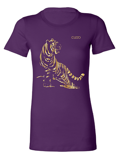 Cuzzo® Fitted Women's Tiger (Purple-Gold Foil)
