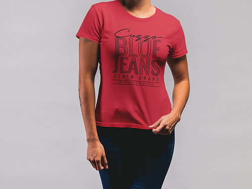 Cuzzo® Unisex Women's Blue Jeans Tee (Red-Black)