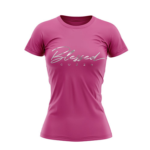 Cuzzo® Unisex Women's Blessed Script Tee (Berry- Silver Foil)