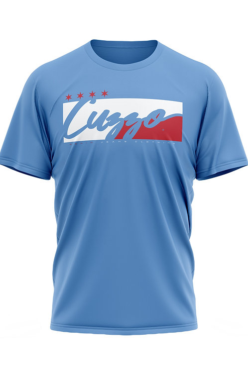 Cuzzo® **All-Star® Signature Block Tee (Baby Blue-Red/White)**
