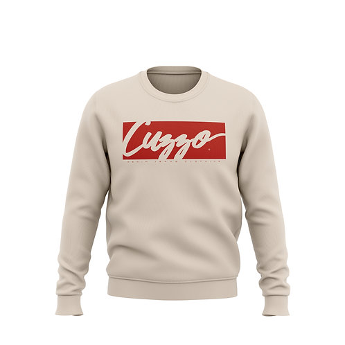 Cuzzo® Signature Block Sweatshirt  (Sand/Red)**