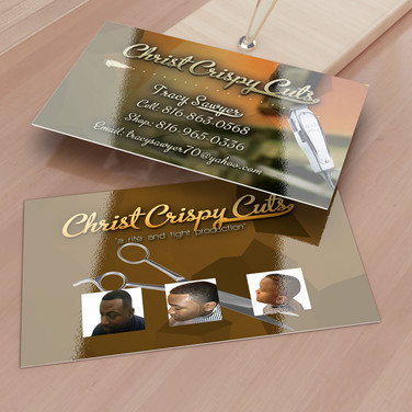 Christ Crispy Cuts business card design. Business card design for client.