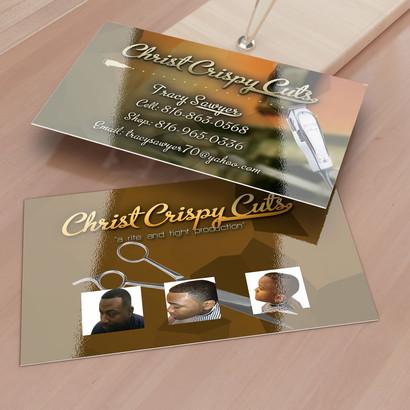 Christ Crispy Cuts business card design. Business card design for client.