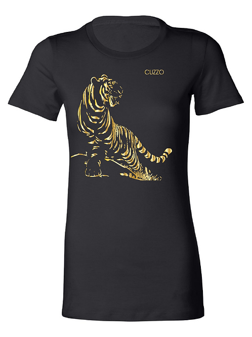 Cuzzo® Fitted Women's Tiger (Black-Gold Foil)