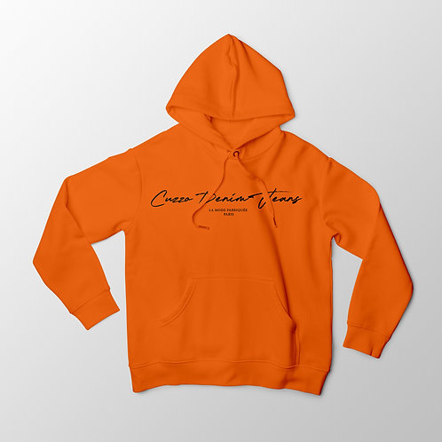 Cuzzo® Scripted Hoodie (Orange-Black)