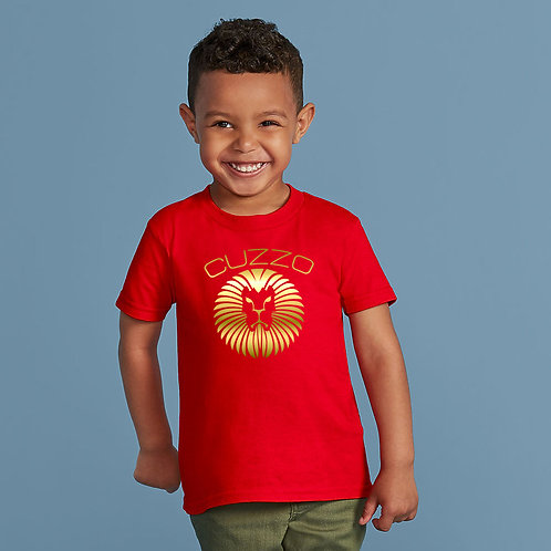 Boys Young King Kids Tee (Red-Gold Foil)