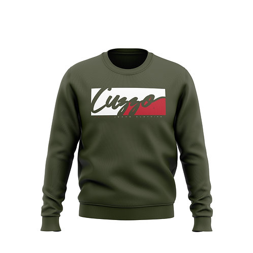 Cuzzo® Signature Block Sweatshirt  (Olive/Red-White)**