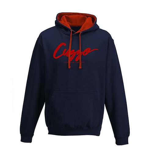 Cuzzo® French Navy-Red Signature hoodie (Navy-Red)