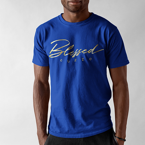 Cuzzo® Double Blessing Tee (Royal-Gold Foil)