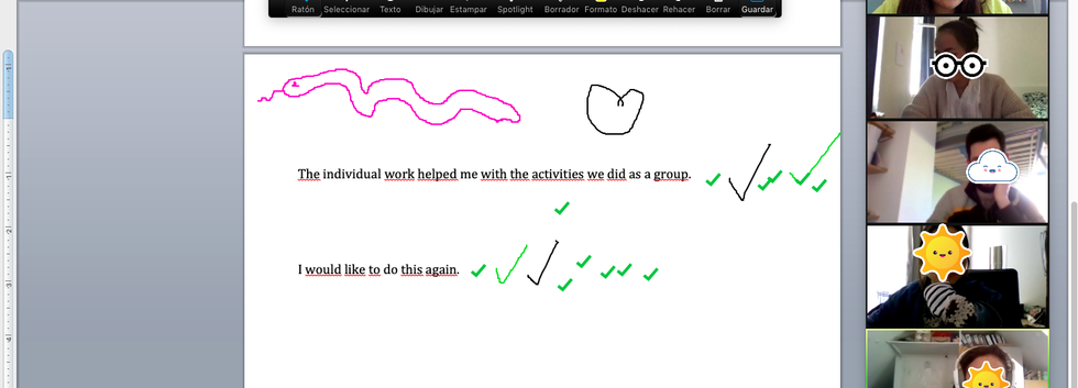 Learners giving feedback