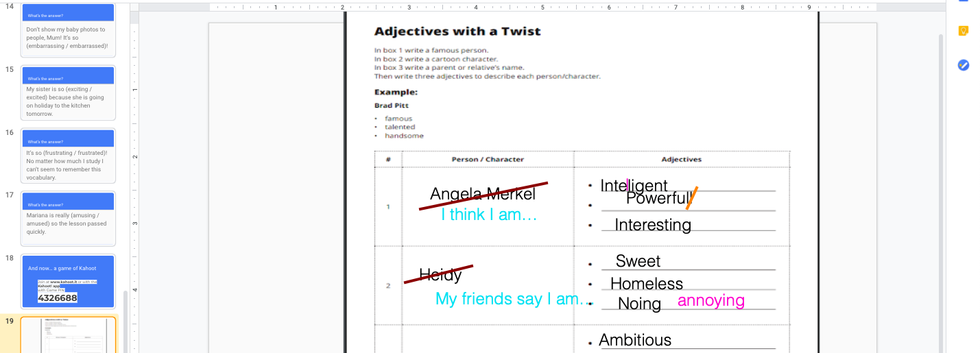 Speaking activity using adjectives