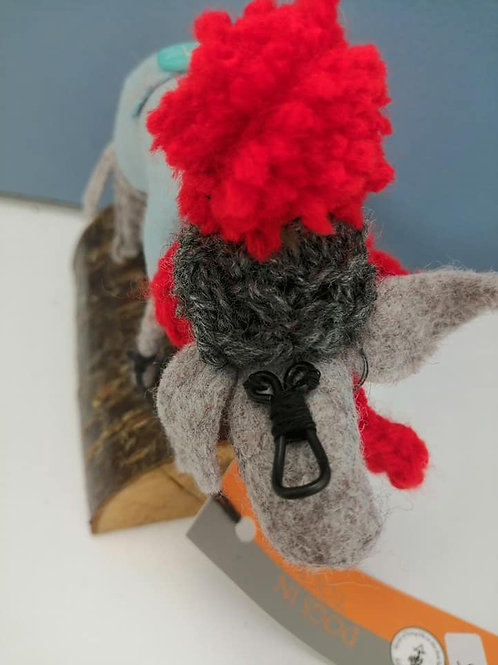 Dogs in Togs, grey hat, red pompom