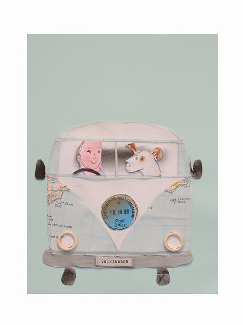 On the Road. Camper Van Art Print