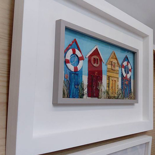 beach hut art from upcycled art