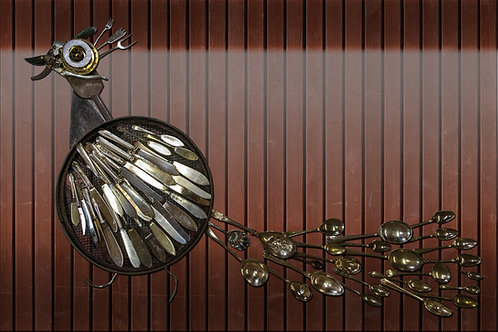 peacock created from cutlery