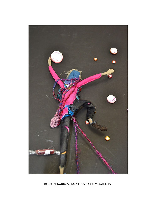 Rock climbing had its sticky moments (pink) A3 art print