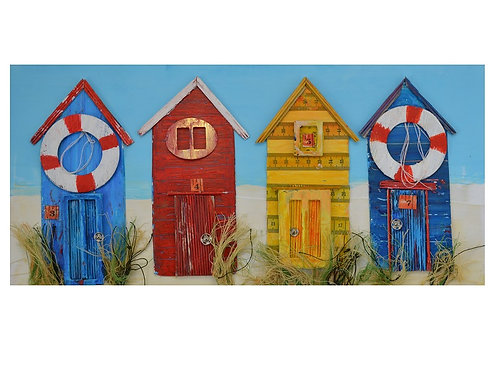 beach hut art from upcycled materials