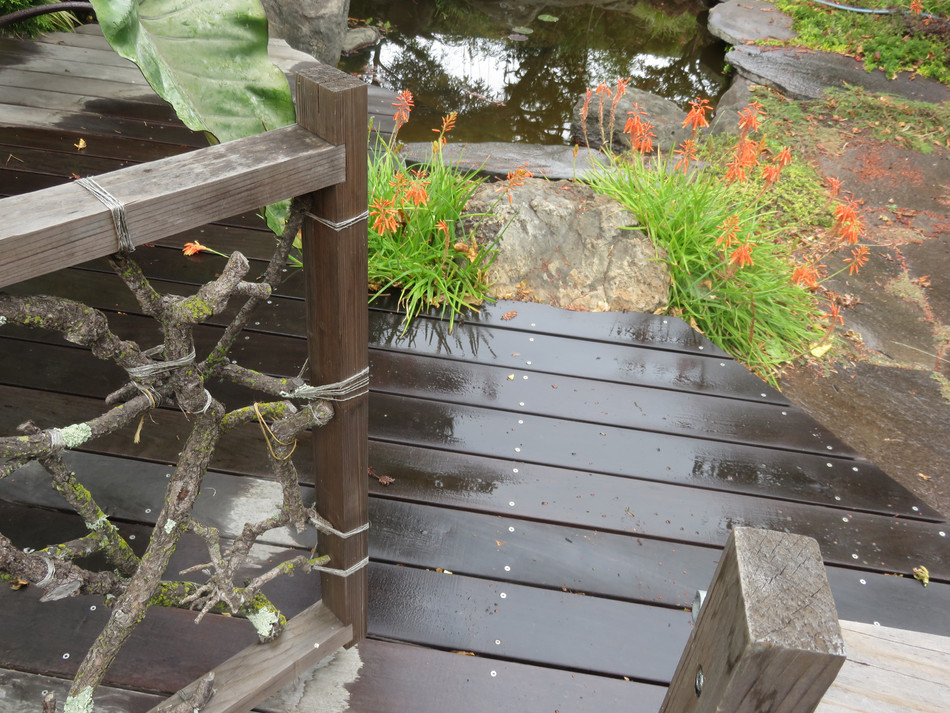 from main deck to sauna and pond