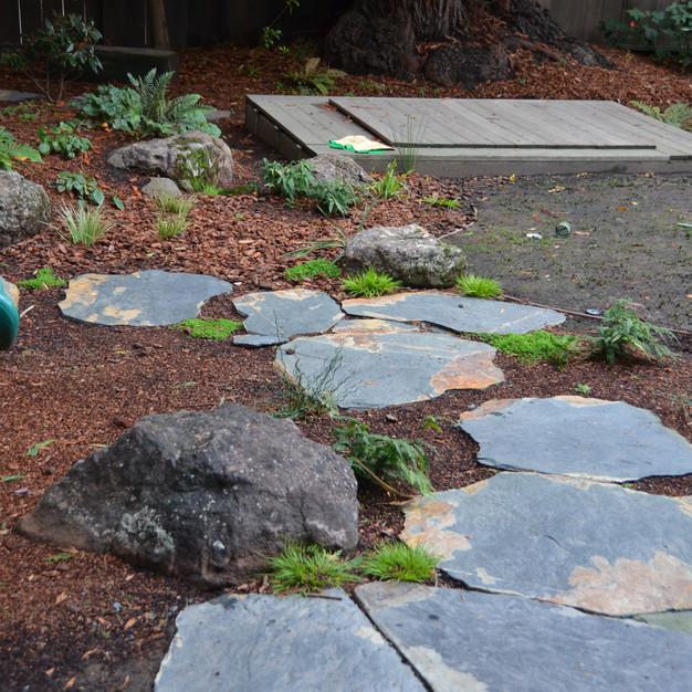 planted rain garden, stepping stones keep feet dry