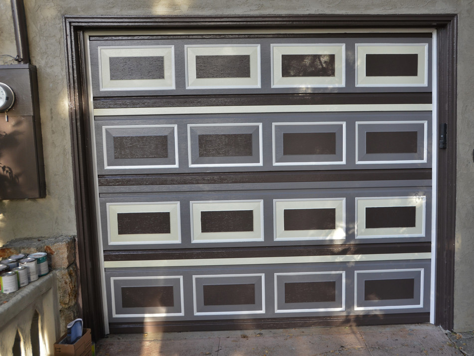 newly painted pattern follows original door geometry