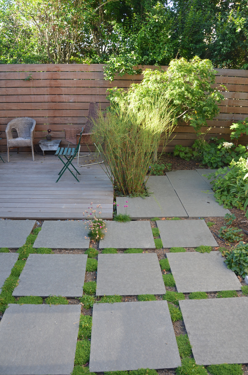 ground level deck and square flagstone