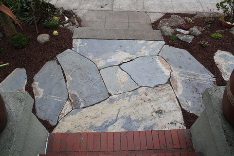 function and whimsy, dry flagstone landing