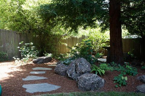 stone in redwood garden