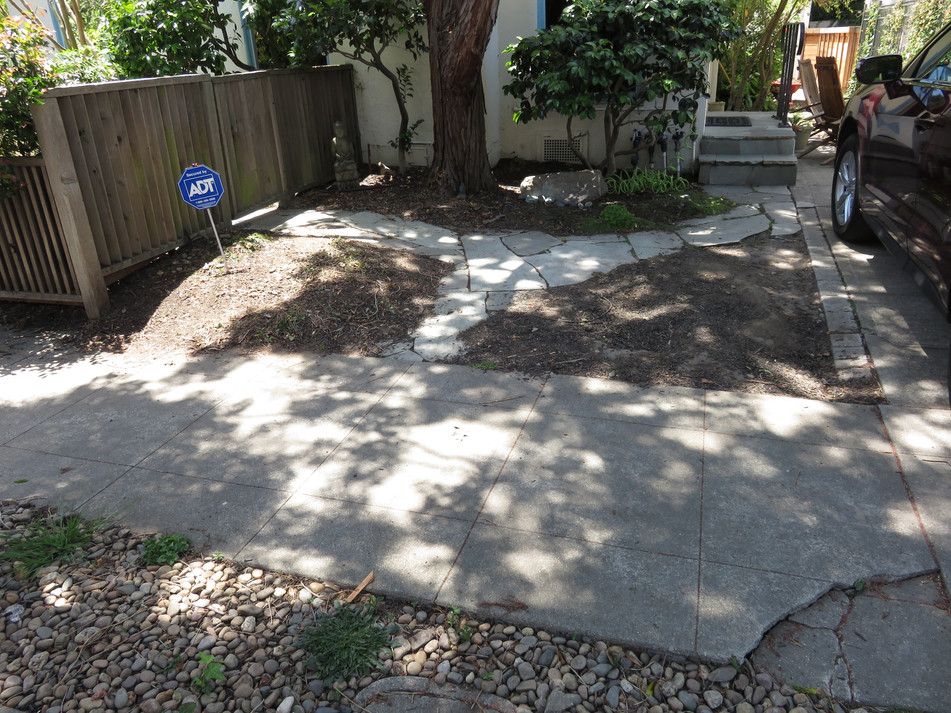 'before view' of sidewalk and planting bed