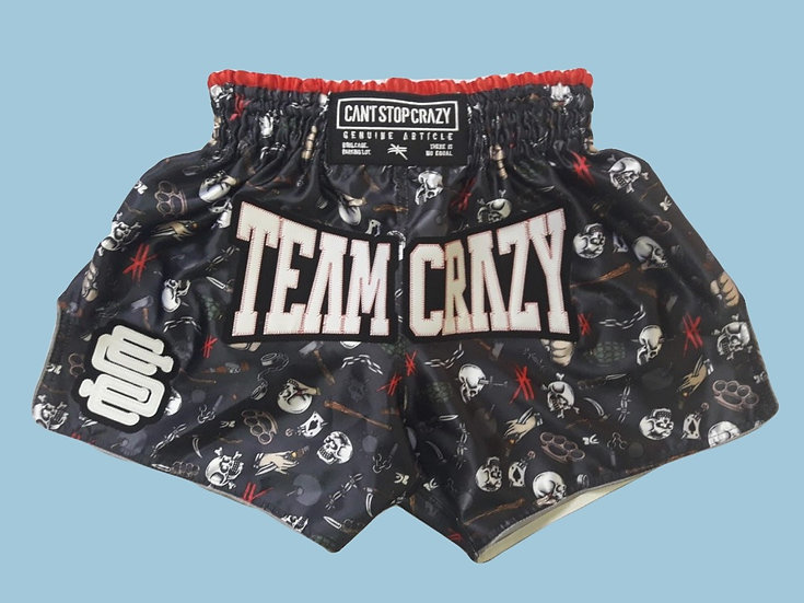 """Team Crazy"" Style Muay Thai Sublimation Printed Shorts"
