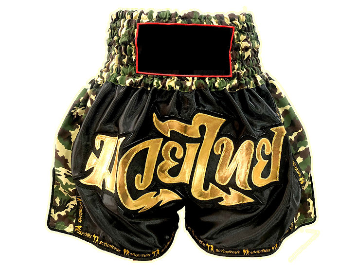 Muay Thai Premium Shorts in Camouflage, Black & Gold