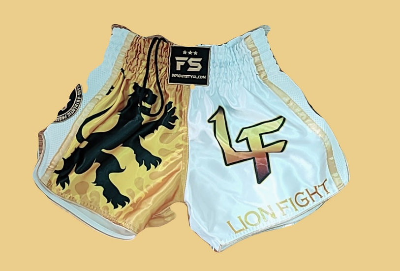 """""""Lion Fight"""" Style Muay Thai Sublimation Printed Shorts"""