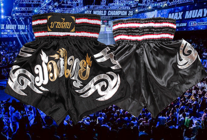 Muay Thai  Shorts Black, Silver & Gold