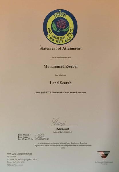 Mohammad Zoubai SES Land Search Certificate