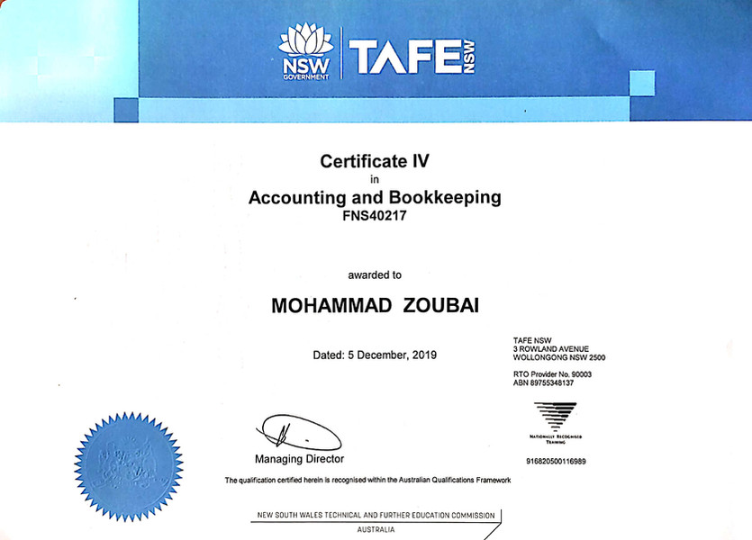 Mohammad Zoubai CERT IV in Accounting and Bookkeeping