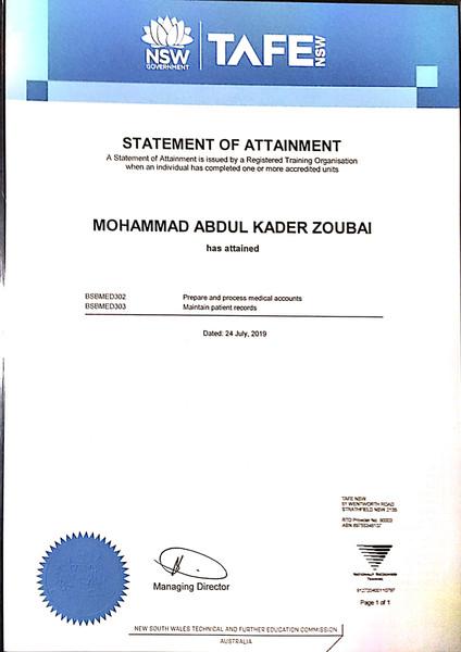 Mohammad Zoubai Patient Records Certificate