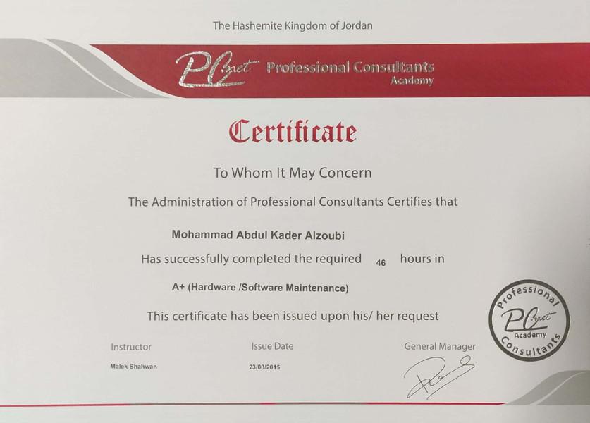 Mohammad Zoubai A+ Certificate