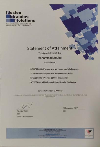 Mohammad Zoubai Non-alchoholic Barista Certificate