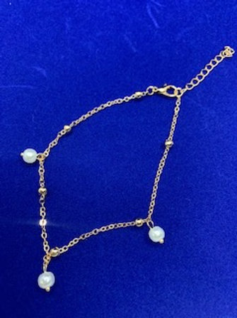 Gold Three Pearl Anklet