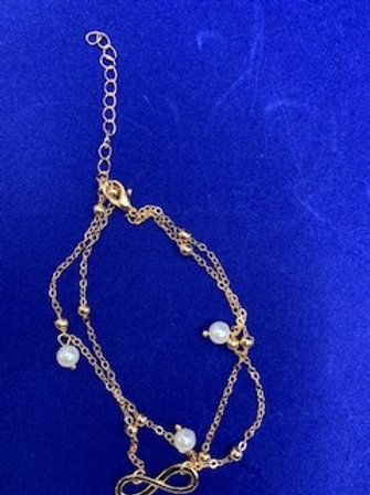 Gold Pearl Anklet w/Infinity Sign