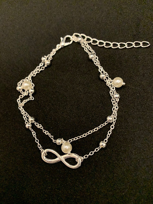 Silver Pearl Anklet w/ Infinity Sign