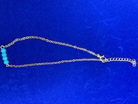 Gold Blue Bead Anklet